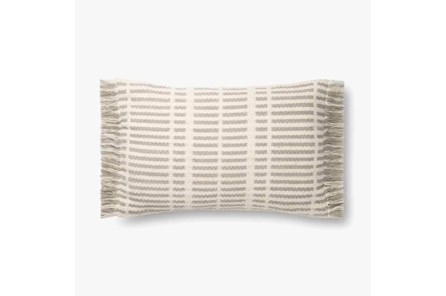 Accent Pillow-Magnolia Home Wool Tonal Fringe Ivory/Grey With Down Fill 16X26 By Joanna Gaines