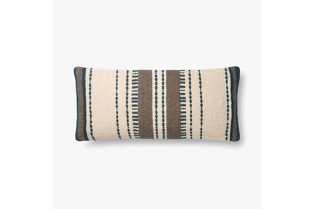 Accent Pillow-Magnolia Home CottonVertical Stripe Blue/Natural With Down Fill 12X27 By Joanna Gaines