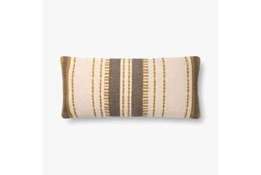 Accent Pillow-Magnolia Home CottonVertical Stripe Gold Natural With Down Fill 12X27 By Joanna Gaines