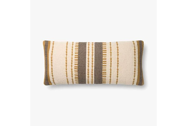 Accent Pillow-Magnolia Home CottonVertical Stripe Gold Natural With Down Fill 12X27 By Joanna Gaines - 360