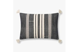 Accent Pillow-Magnolia Home CottonVertical Tassels Navy/Ivory With Down Fill 16X26 By Joanna Gaines