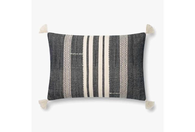 Accent Pillow-Magnolia Home CottonVertical Tassels Navy/Ivory With Down Fill 16X26 By Joanna Gaines - 360