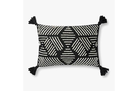 Accent Pillow-Magnolia Home CottonGeo Tassels Black/Ivory With Down Fill 16X26 By Joanna Gaines