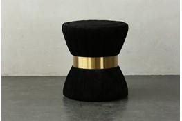 Black Upholstered + Gold End Table