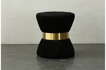 Black Upholstered + Gold End Table