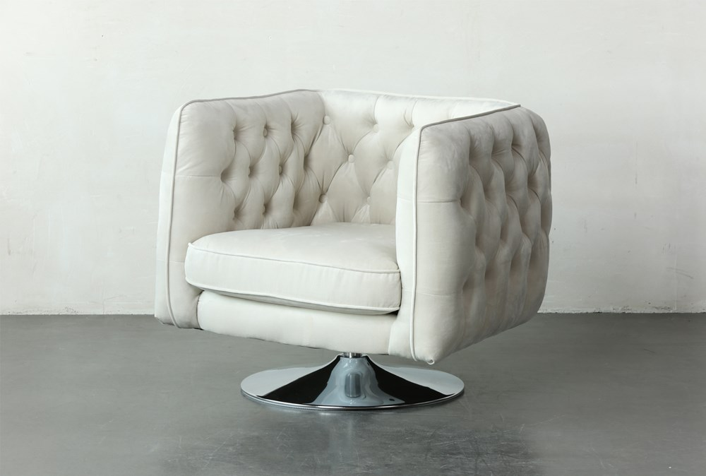 White Tufted Accent Swivel Chair