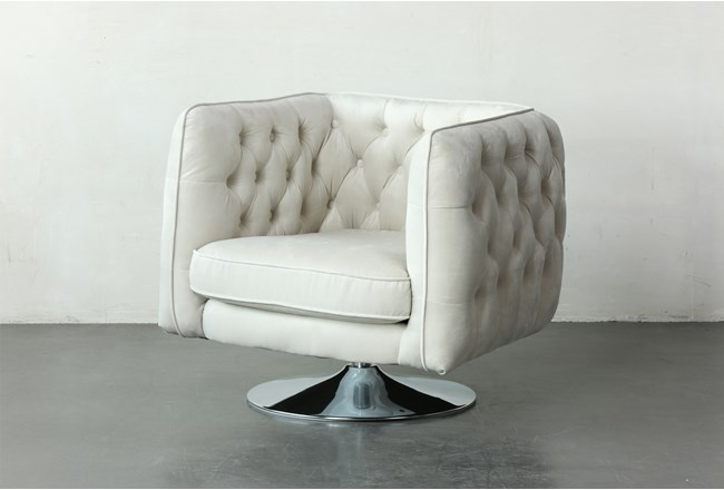 White Tufted Accent Swivel Chair - 360