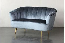 Ice Blue Velvet Channel Back Sofa