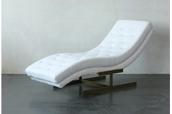 White Tufted Chaise