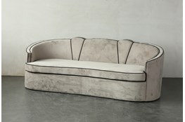 Grey Velvet Curved Sofa With Black Piping