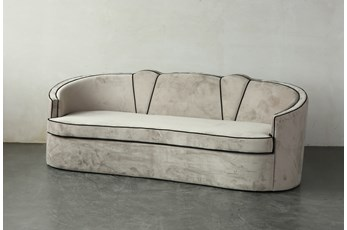 """Grey Velvet Curved 91"""" Sofa With Black Piping"""