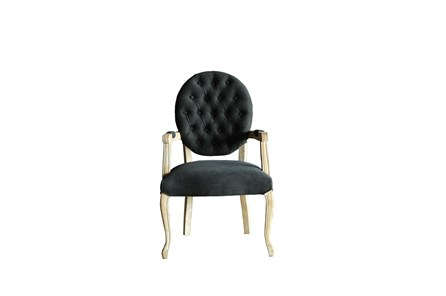 Black Tufted Dining Arm Chair