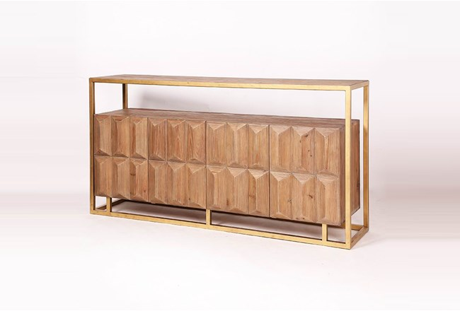 Geo Faceted Sideboard On Gold Stand  - 360