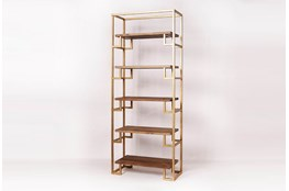 Gold Metal + Pine Bookcase