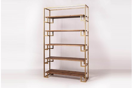 Large Gold Metal + Pine Bookcase