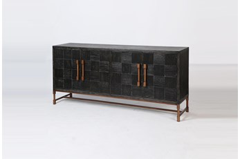 "Modern Black Oak + Bronze 74"" Sideboard"