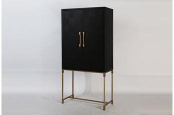 Modern Black Oak Bar Cabinet With Gold Legs