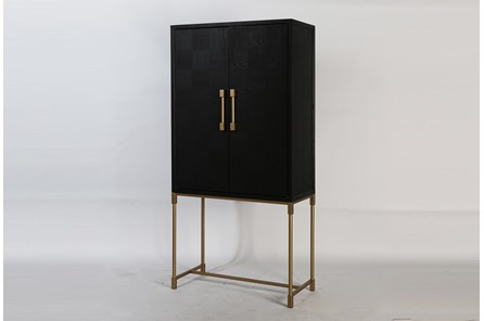 Modern Black Oak Bar Cabinet With Gold Legs - Main