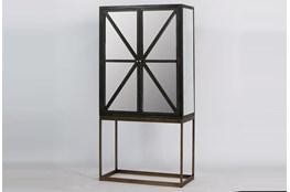 Antique Black Elm Mirrored Cabinet