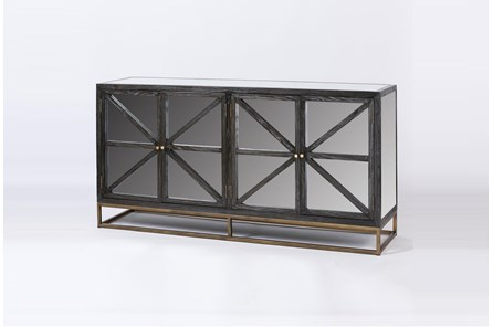 Antique Black Elm Mirrored Sideboard