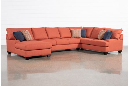 Harper Foam Red 3 Piece Sectional With Left Arm Facing Chaise