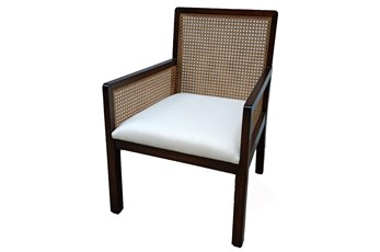 Mahogany + Cane Back Accent Chair