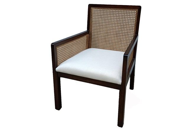 Mahogany + Cane Back Accent Chair - 360