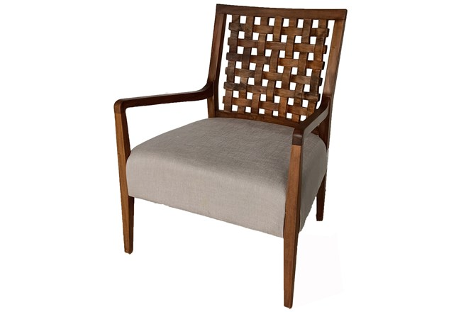 Mahogany Grid Back Accent Chair - 360