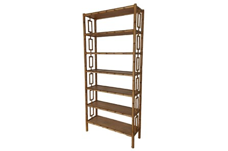 Mahogany Wood Cut Out Bookcase - Main