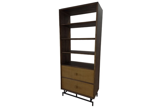 Tall 2 Drawer Cane Front Bookcase  - 360