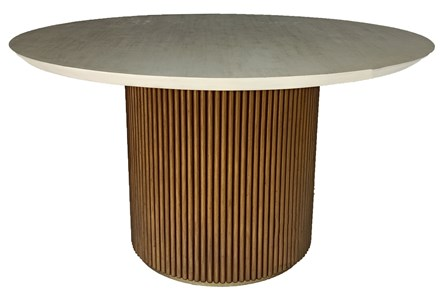 Wire Brushed White Washed + Brown Ribbed Dining Table