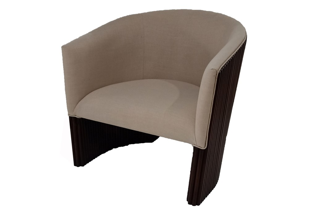 Dark Mahogany + Beige Curved Accent Chair