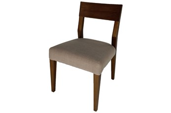 Dark Mahogany + Grey Upholstered Dining Chair
