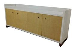 "White + Woven Front Brass Bottom 4 Door 83"" Sideboard"