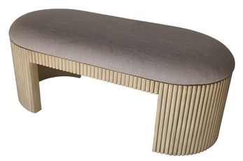 Ribbed Grey Upholstered Bench