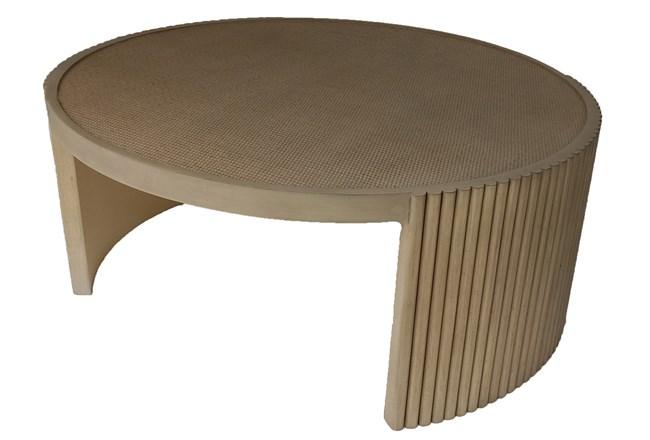 Mahogany Ribbed + Cane Coffee Table - 360