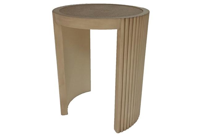 Mahogany Ribbed + Cane Accent Table  - 360