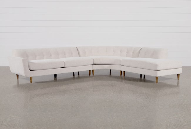 """Chill III 3 Piece 134"""" Sectional With Right Facing Bumper Chaise - 360"""