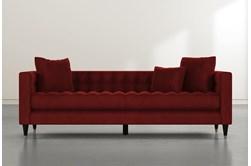 Tate III Burgundy Velvet Estate Sofa