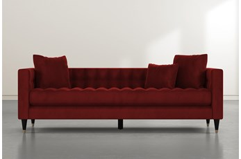 Tate III Burgundy Velvet Estate Sofa