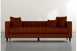 "Tate III 92"" Orange Velvet Estate Sofa"