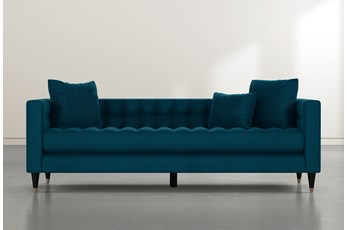 Tate III Teal Blue Velvet Estate Sofa