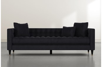 Tate III Dark Grey Velvet Estate Sofa