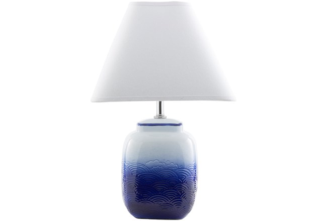 Table Lamp-Negril Blue And White Ceramic - 360