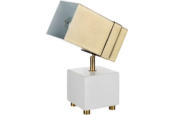 Table Lamp-Projor Marble With Gold Shade