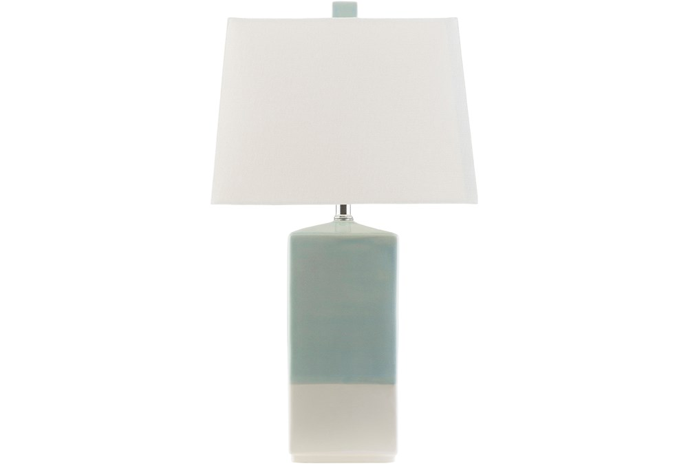 Table Lamp-Zele Aqua And Cream