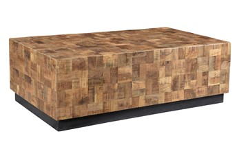 Sqaure Mango Wood Blocked Coffee Table