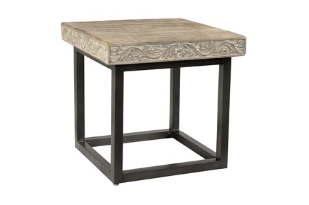 Grey Wash Carved Accent Table