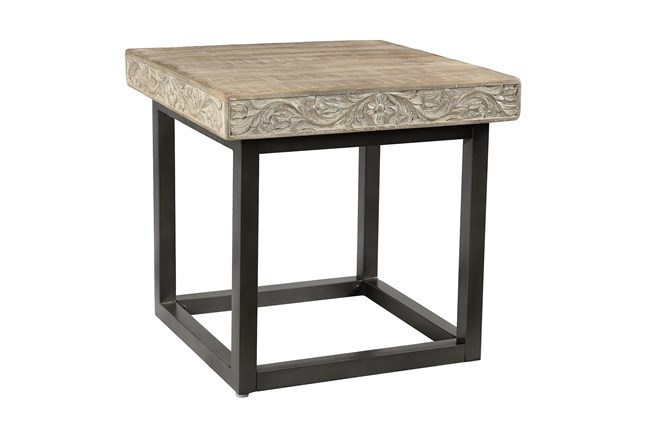 Grey Wash Carved Accent Table  - 360