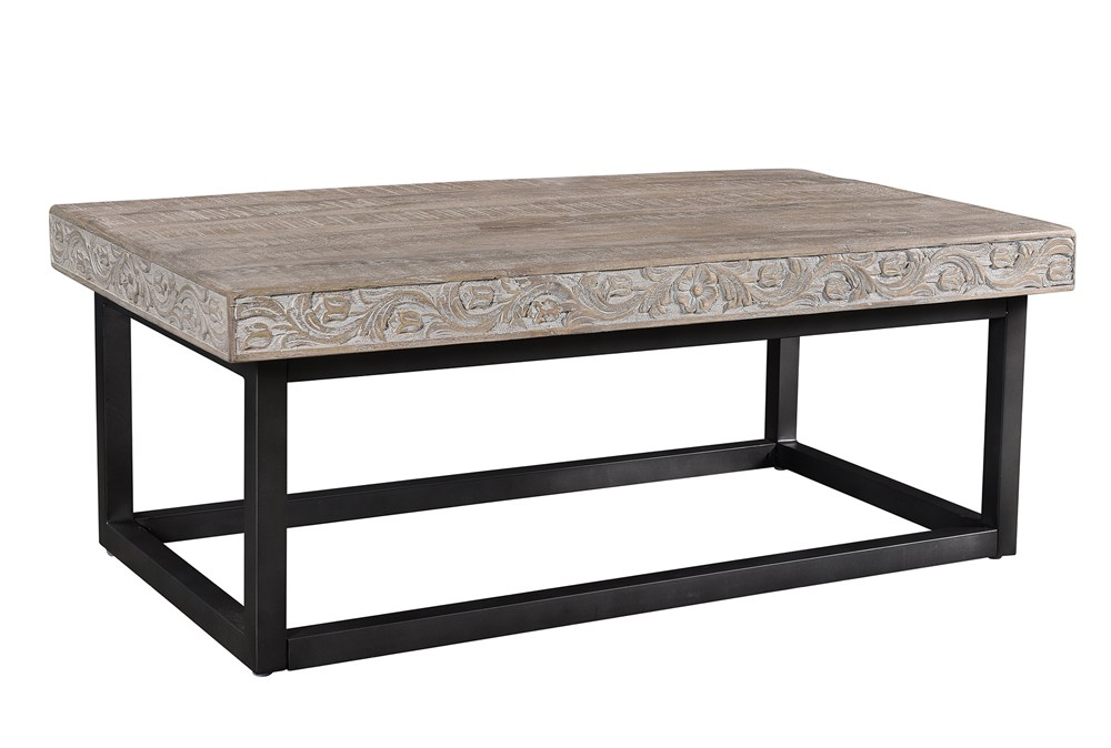 Grey Wash Carved Coffee Table
